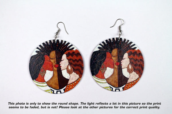 African earrings, wooden jewelry | The 3 sisters