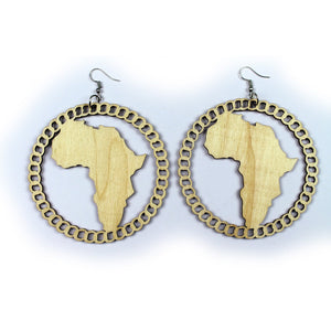 Wooden drop earrings | African continent wood with chain