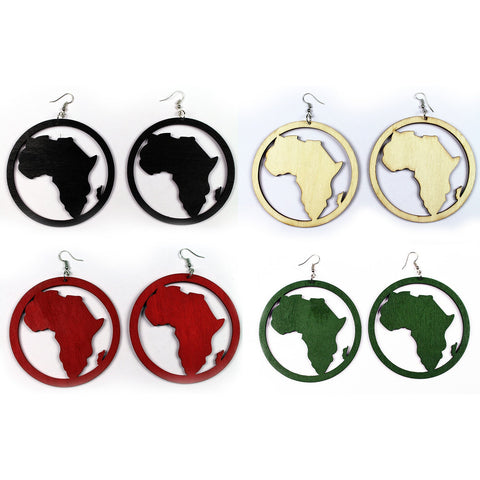 African earrings in multiple colors | African continent in circle