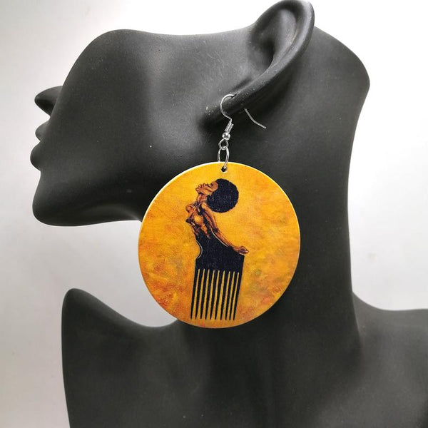 Africa inspired earrings | Afro Comb