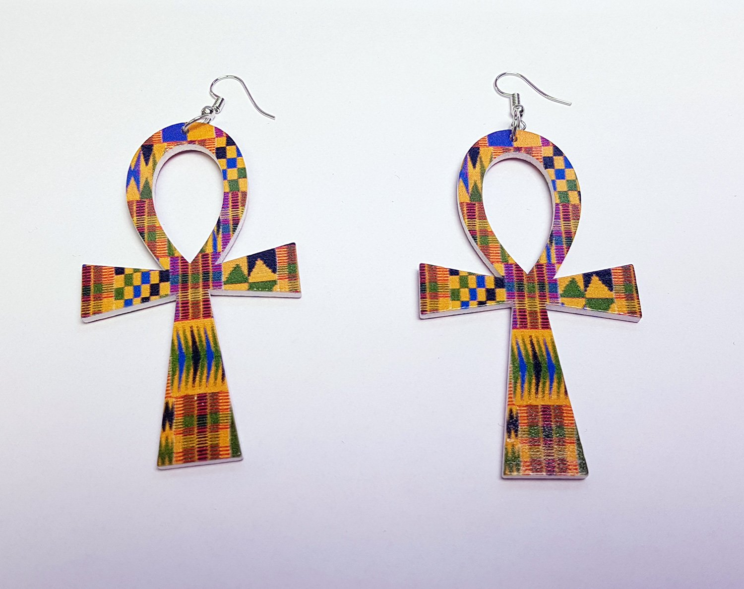 Ankh shaped wooden African Earrings with Print - Kente