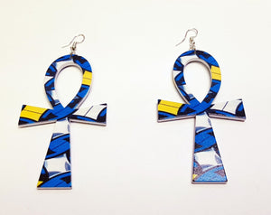 Ankh shaped wooden African Earrings with Print - Blue/Yellow