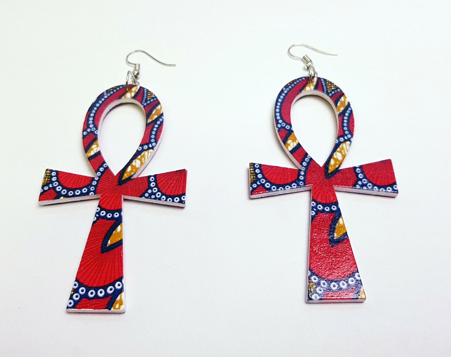 Ankh shaped wooden African Earrings with Print - Red