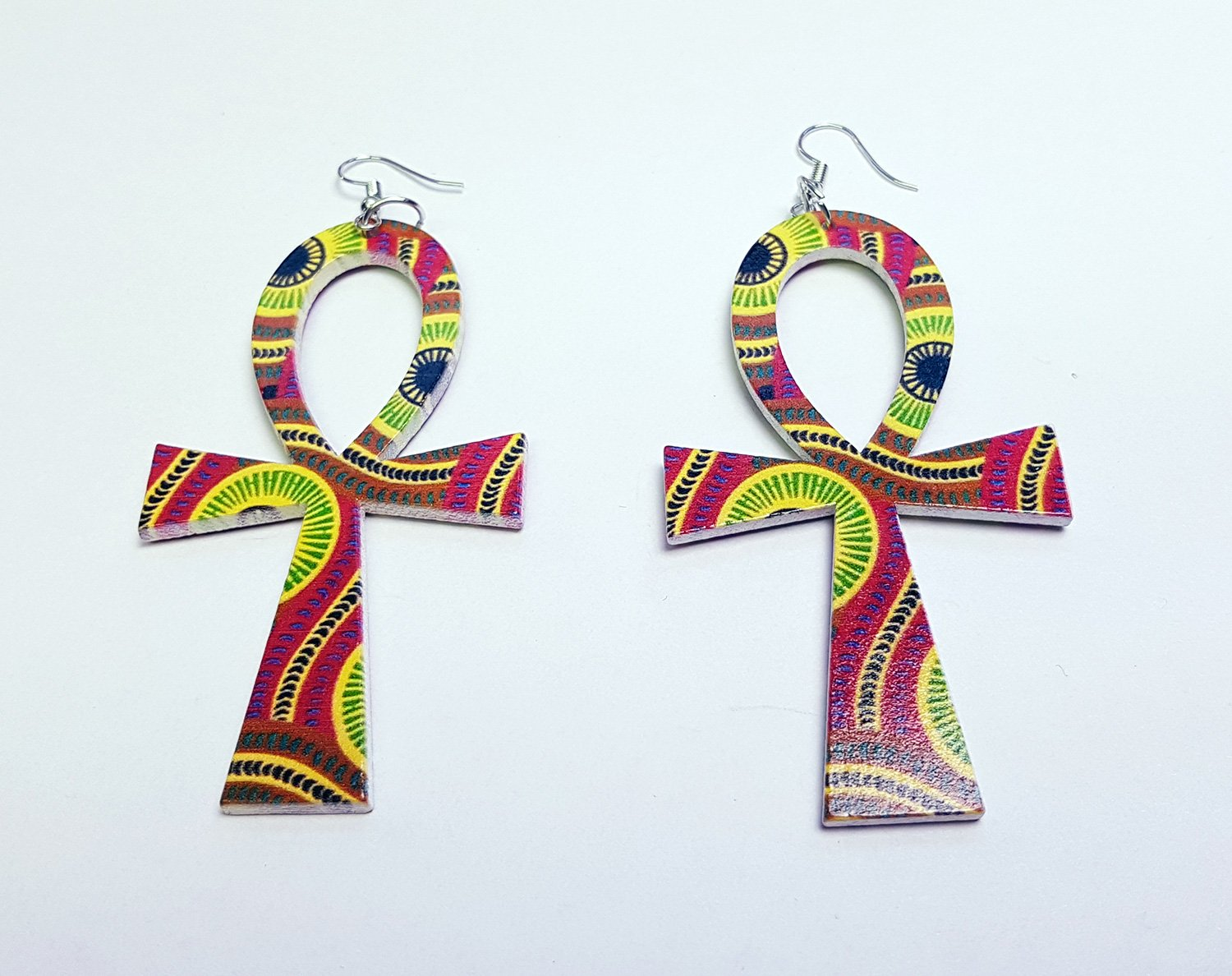 Ankh shaped wooden African Earrings with Print - Yellow / Pink