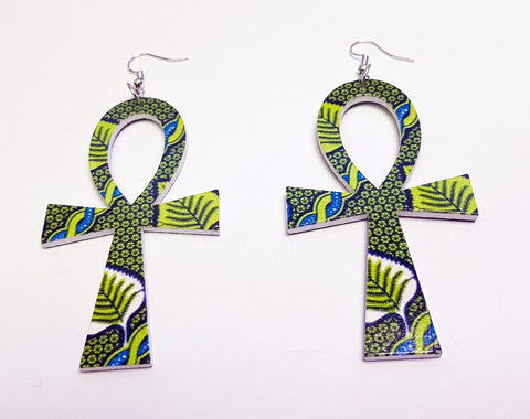 Ankh shaped wooden African Earrings with Print - Green leaves