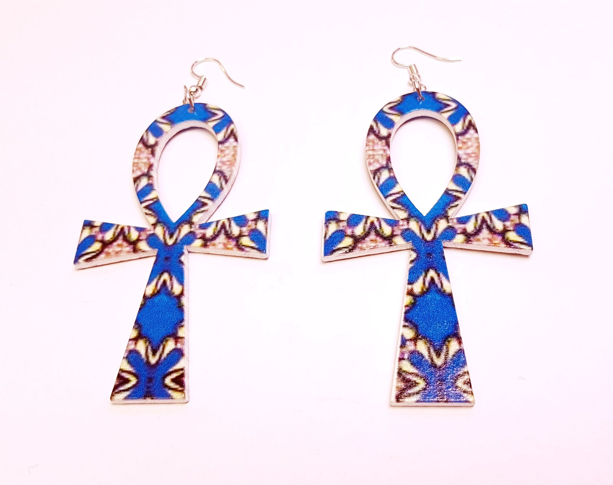 Ankh shaped wooden African Earrings with Print - Blue Shapes