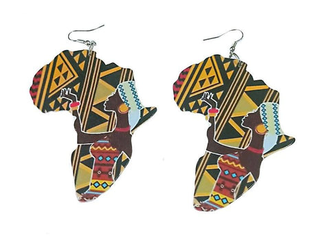Africa inspired earrings | African continent Tribal Woman