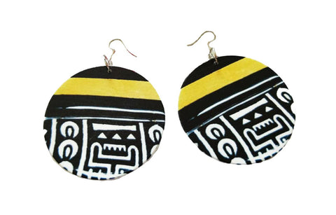 Africa inspired earrings | Black / Yellow tribal