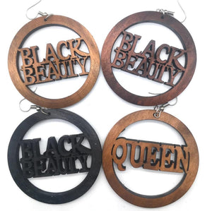 Wooden earrings | BLACK BEAUTY or QUEEN