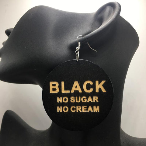 Wooden earrings | Black, no sugar no cream