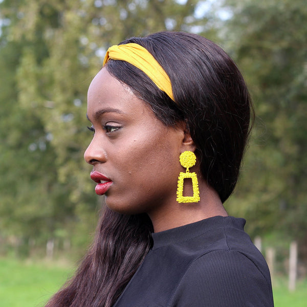 Yellow Large Chunky Metal Geometric Drop Earrings