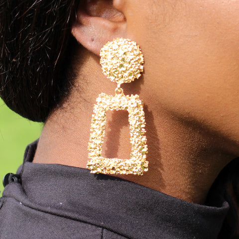 Gold Large Chunky Metal Geometric Drop Earrings