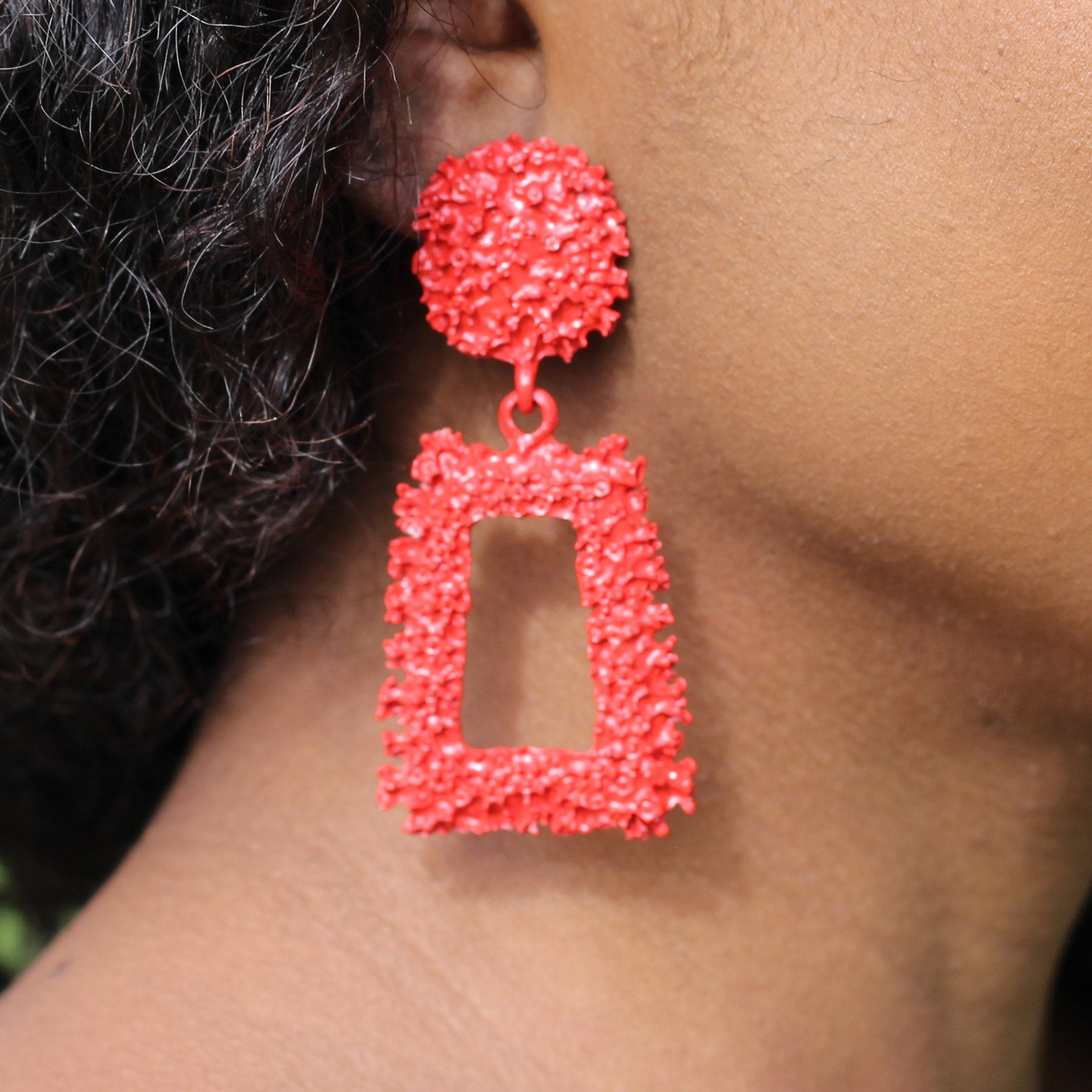 Red Large Chunky Metal Geometric Drop Earrings