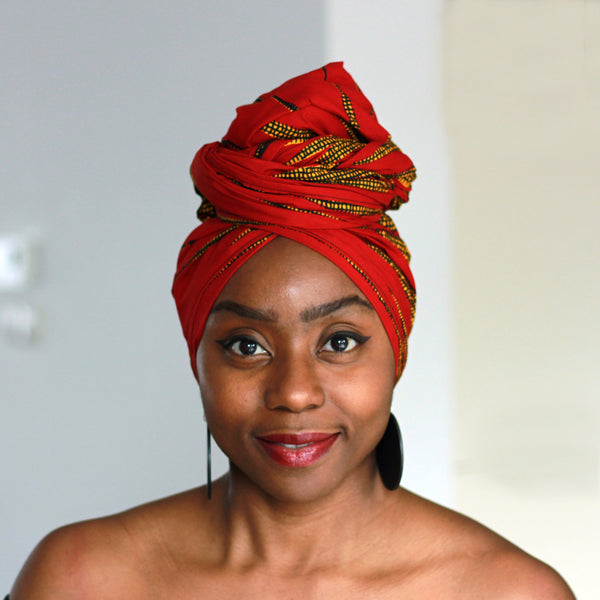 Afrikaanse hoofddoek / Vlisco headwrap - Rood / Gele Meeting point