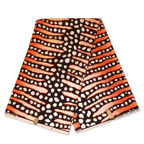 Afrikaanse stof - Zwart Oranje Mud cloth / Bogolan stripes - Metallic - 100% katoen