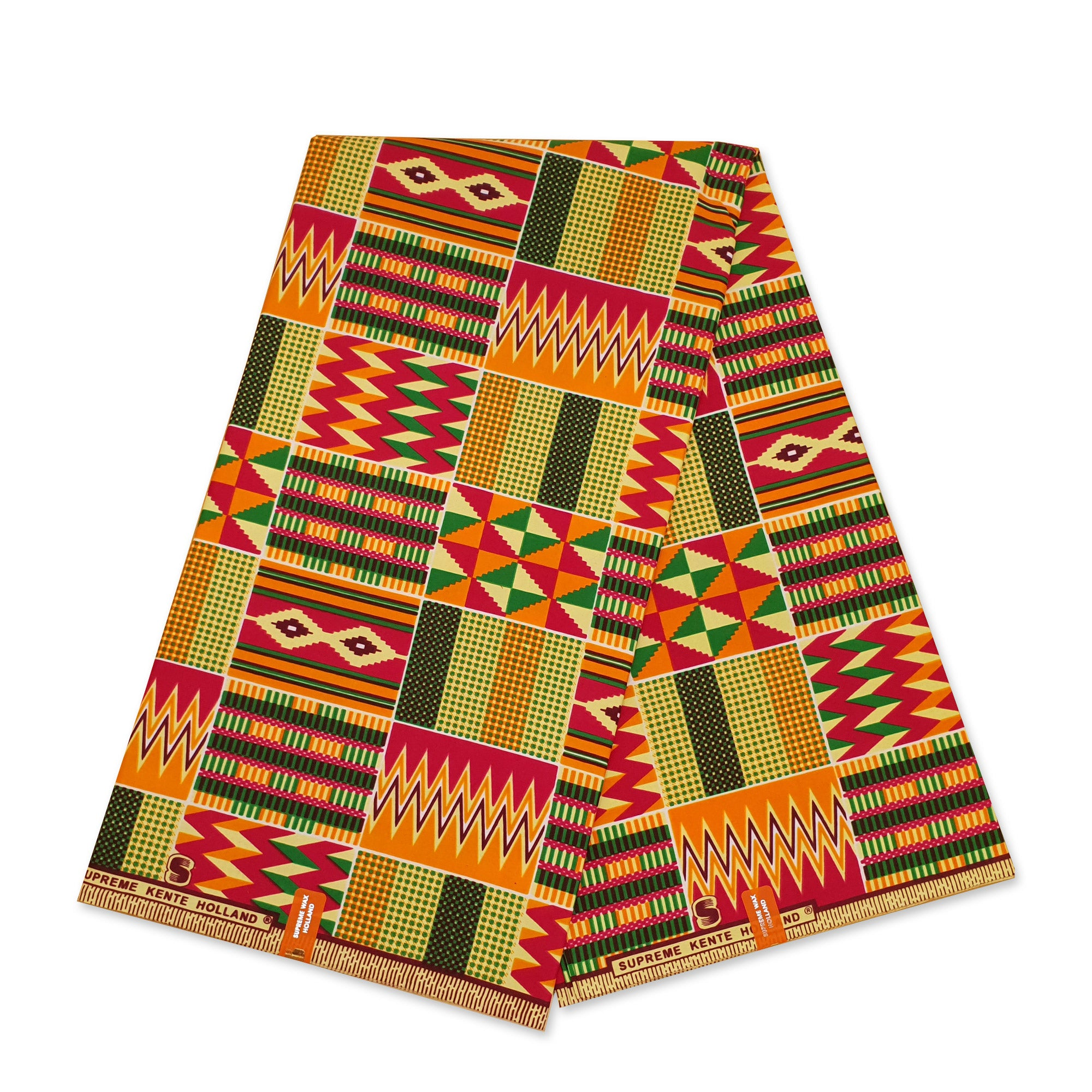 African Orange Kente print fabric KENTE Ghana wax cloth SKE2008