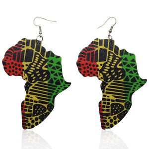 Wooden earrings | African continent in the Pan-African colors