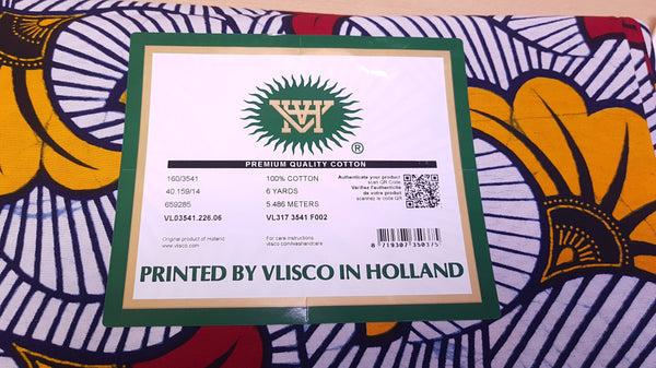 VLISCO Hollandais Wax print fabric - WHITE WEDDING FLOWERS