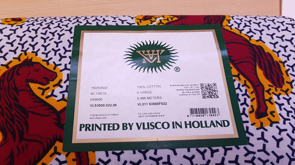 VLISCO stof Hollandais Afrikaanse Wax print - Wit / Rode Jumping Horse