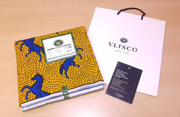 VLISCO Hollandais Wax print fabric - YELLOW / BLUE JUMPING HORSE