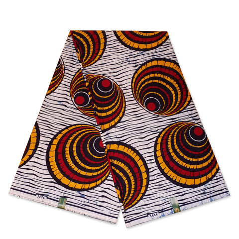 VLISCO stof Hollandais Afrikaanse Wax print - Wit Rode Shells