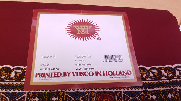 VLISCO Rode Dashiki / Angelina Java Wax Afrikaanse print stof