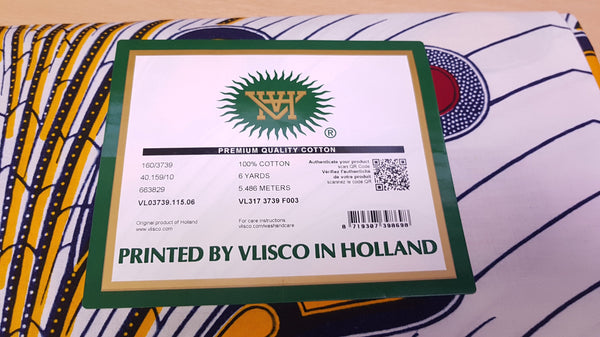 VLISCO stof Hollandais Afrikaanse Wax print - Wit / Rode Bulb