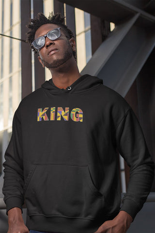 Hoodie / Sweater - KING in Kente print (Black or White)