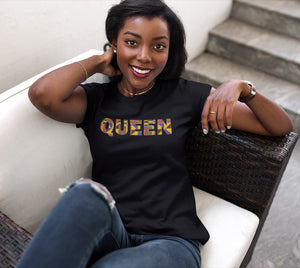 Women's T-shirt - QUEEN in Kente print (Black or White)