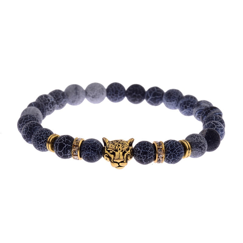 DUOVEI Weathering Stone Leopard Head Beaded Bracelet For Men New Fashion Natural Stone Tiger Eye Onyx Lava Beads Bracelets - Tekocloth