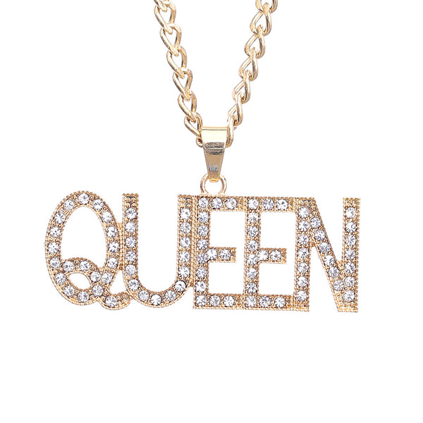 Men Hip Hop Full Rhinestone King Shape Pendants Necklaces Bling Bling Iced Out Cuban Link Chain Hiphop Necklace Men Jewelry Gift - Tekocloth