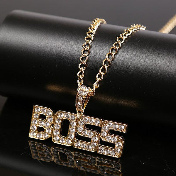 Hip Hop Jewelry Personalized Rhinestone BOSS Letter Pendants Necklaces Women Men Party Fashion Long Chain Gold Necklace Gifts - Tekocloth