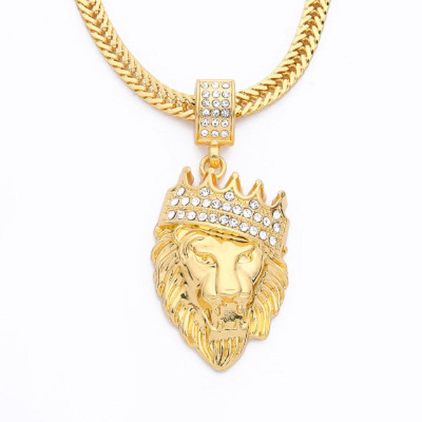 Mens Full Iced Rhinestone An crown Lion Tag necklaces pendants Hip hop Cuban Chain Hip Hop Necklace Gold Jewelry For Male #7-8 - Tekocloth
