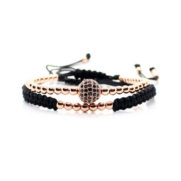Gold Couple Bracelet Set Beads Men Bileklik Jewelry Adjustable Bracelets For Women Pulseira Masculina CZ Ball Armband Bangles - Tekocloth