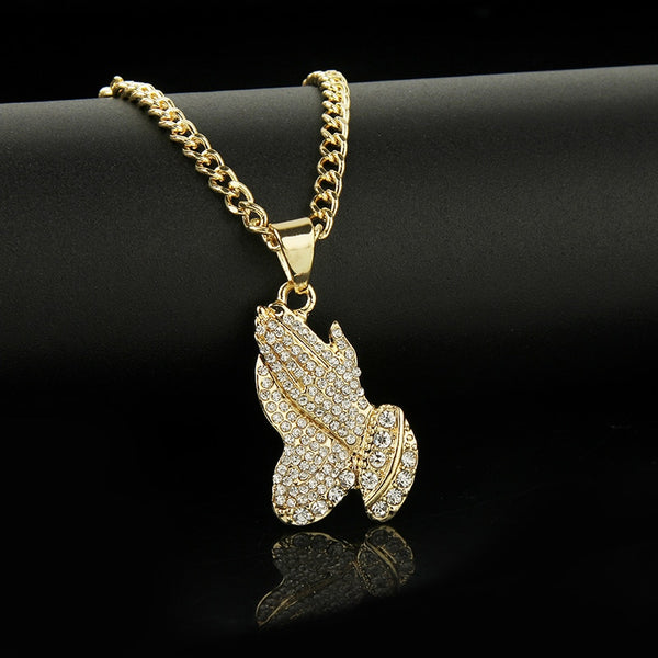 2019 The Praying Hands Pendants & Necklaces Brother Gift Gold Color Crystal Alloy Hip Hop Men Chain Jewelry Long Necklaces Party - Tekocloth