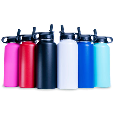 32oz Hydro Water Bottle - 2 Lids (Powder Coated)