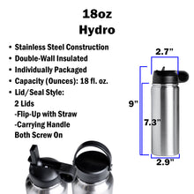 Load image into Gallery viewer, 18oz Hydro Water Bottle (2 Lids)