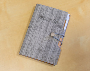 Woodgrain Notebook With Sticky Notes And Flags