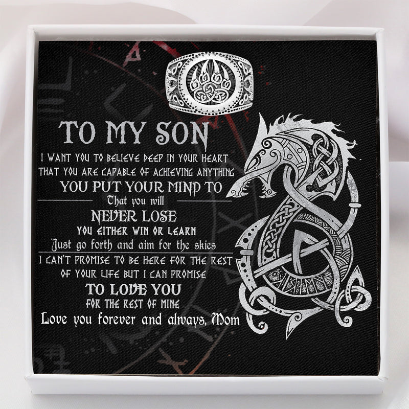 To My Viking Boy From Mom - Ring Gift - Message Card - TQR0002