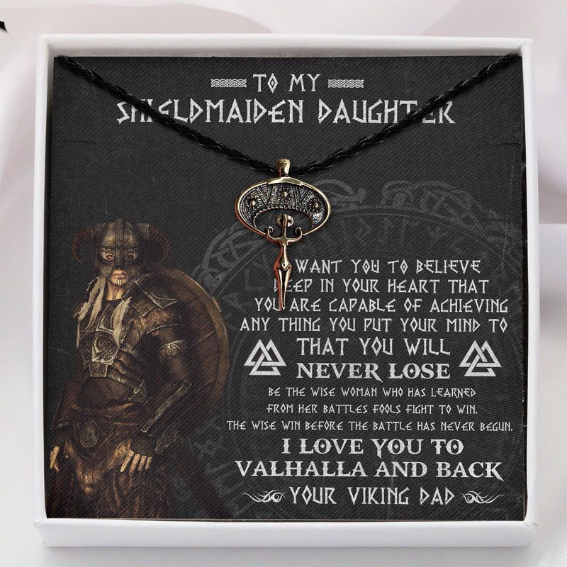 To My Viking Shieldmaiden Daughter From Viking Dad - Viking Necklace - Message Card - TQNL0113