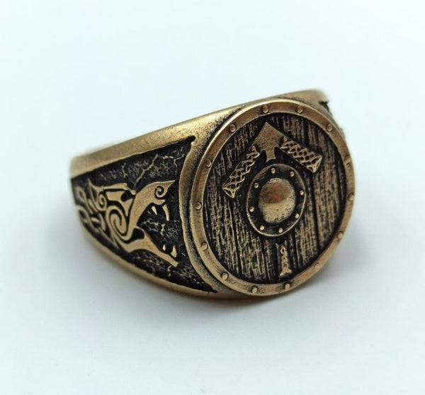 Tyr Signet Viking Shield Ring - Norse mens Jewelry