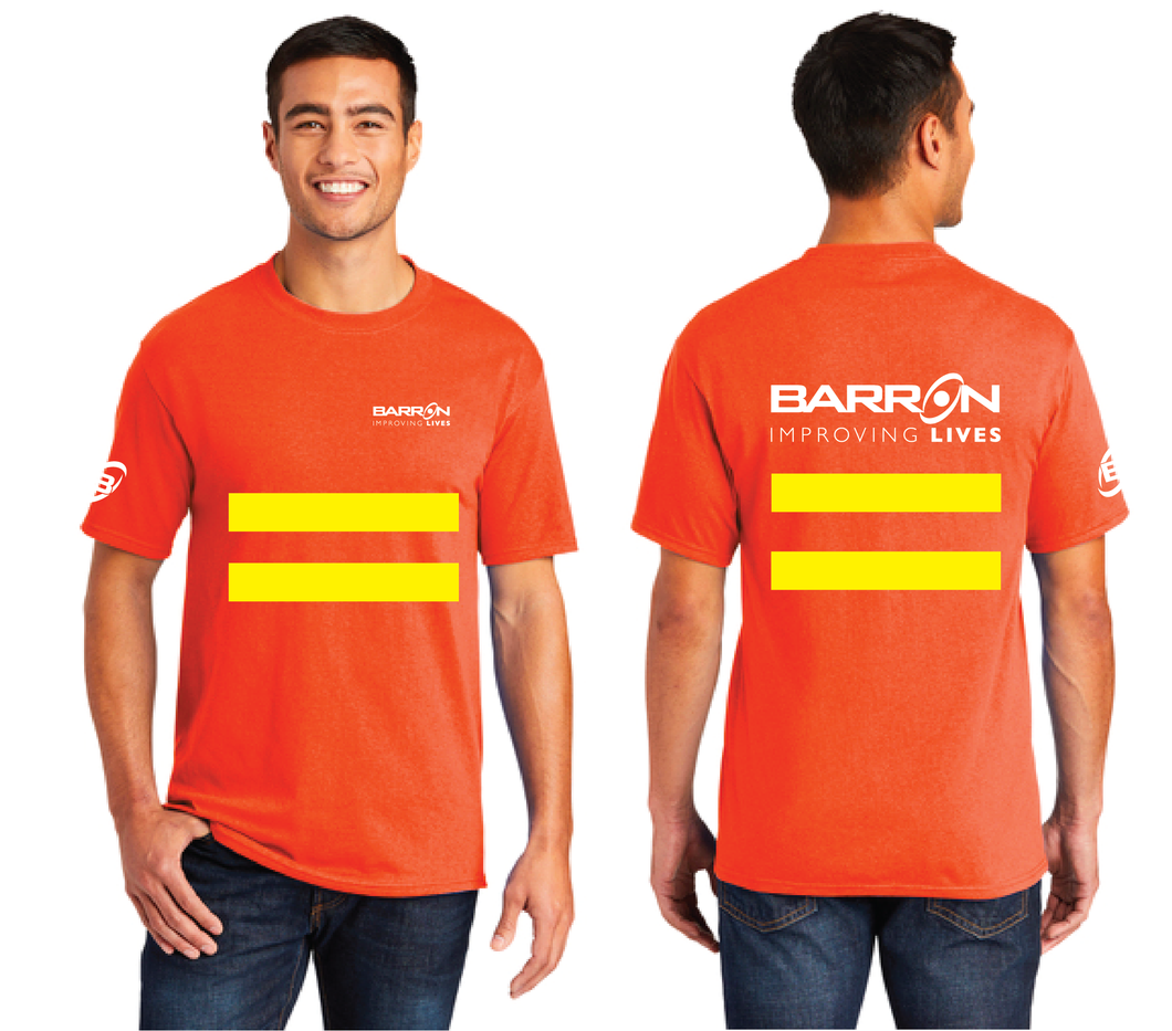 Improving Lives Tee with Safety Stripes (Orange, Blue)