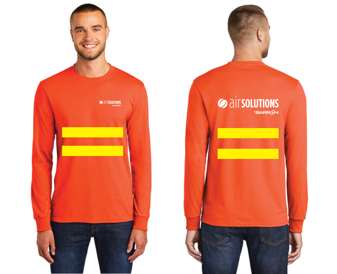 Air Solutions Long Sleeve Tee with Safety Stripes (Orange, Blue)