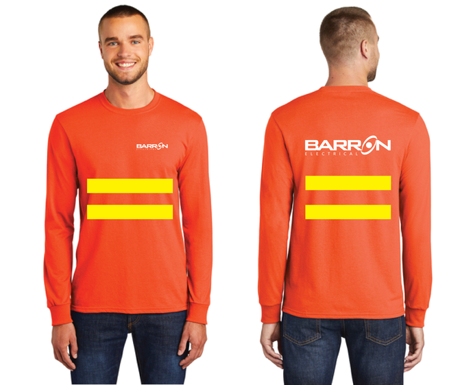 Electrical Long Sleeve Tee with Safety Stripes (Orange, Blue)