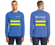 Load image into Gallery viewer, Firelight Long Sleeve Tee with Safety Stripes (Orange, Blue)