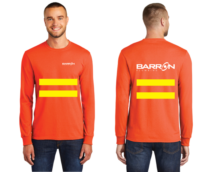 Plumbing Long Sleeve Tee with Safety Stripes (Orange, Blue)