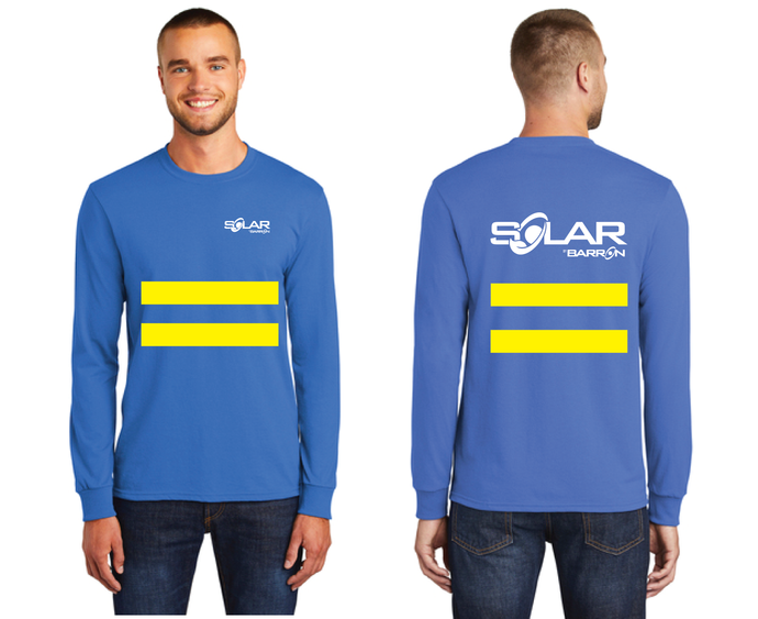 Solar Long Sleeve Tee with Safety Stripes (Orange, Blue)