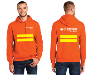 Air Solutions Pullover Hooded Sweatshirt with safety stripes (Orange, Blue)