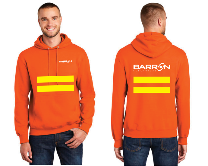 Electrical Pullover Hooded Sweatshirt with safety stripes (Orange, Blue)