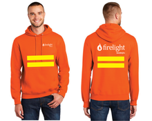 Load image into Gallery viewer, Firelight Pullover Hooded Sweatshirt with safety stripes (Orange, Blue, Black)